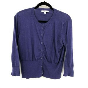 Cabi Purple 100%Cotton 3/4 Sleeve Button Cardigan